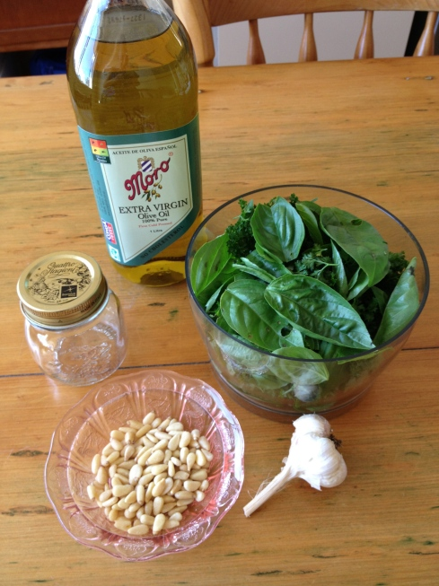 Pesto ingredients with garlic